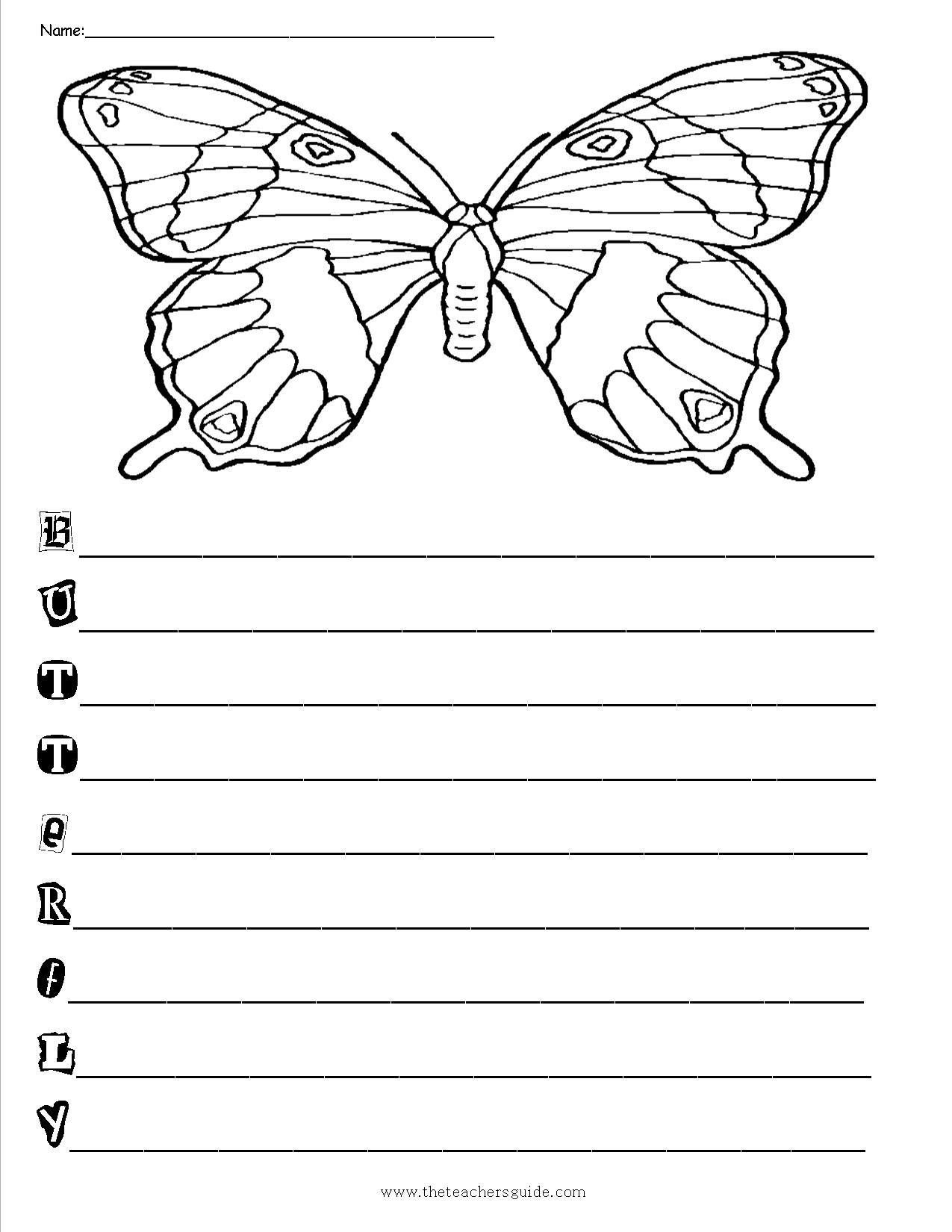 Butteflyacrosticpoemform