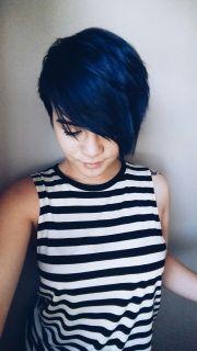 blue hair pixie cut cut&colour