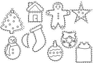 Christmas Cookie Templates for children to color and cut