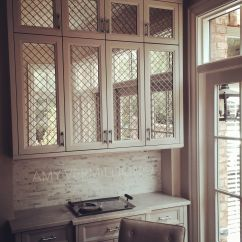 Kitchen Cabinet Doors With Glass Fronts Copper Knobs For Cabinets Amy Vermillion Interiors Antique Mirror Behind Nickel