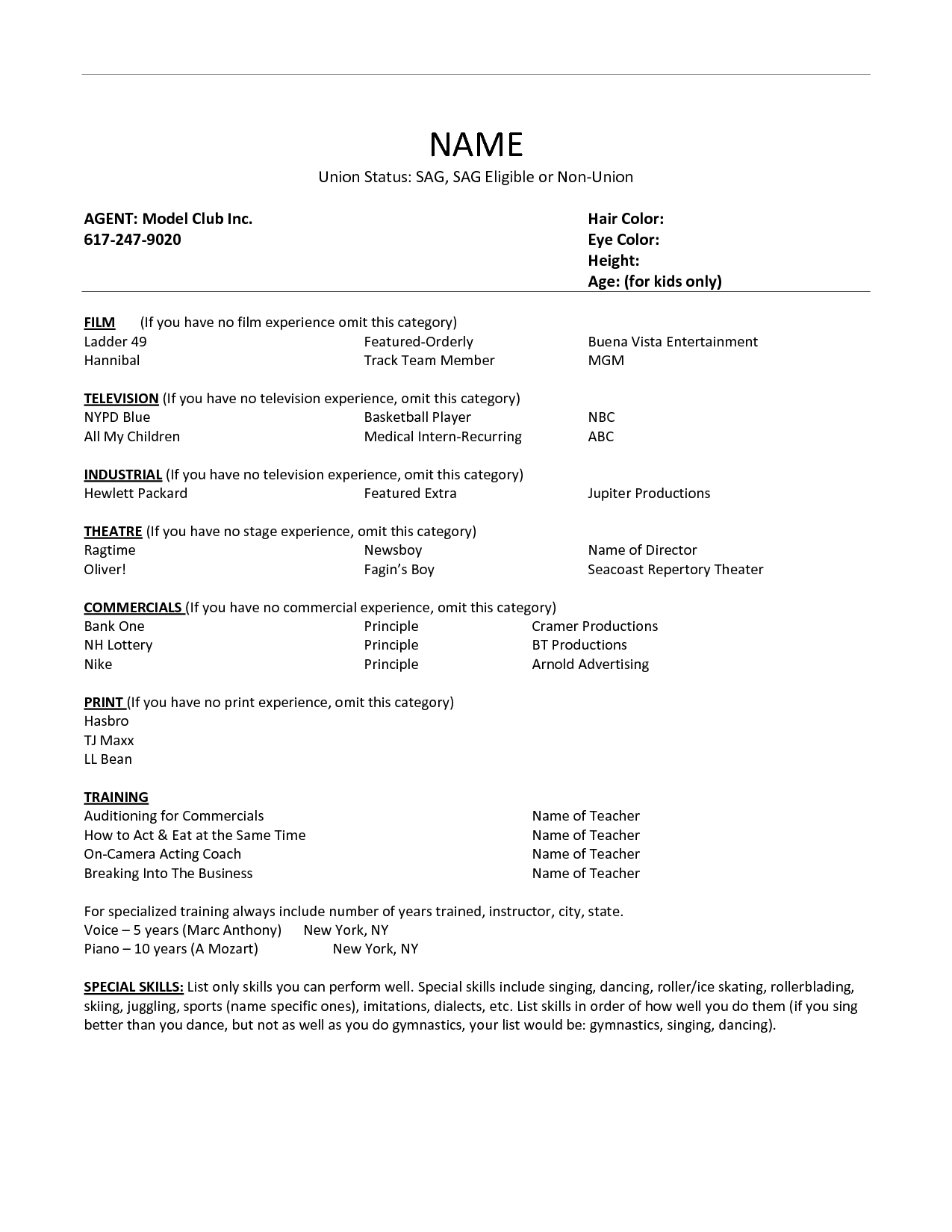 Actor Resume Example Acting Resume No Experience Template Http Www