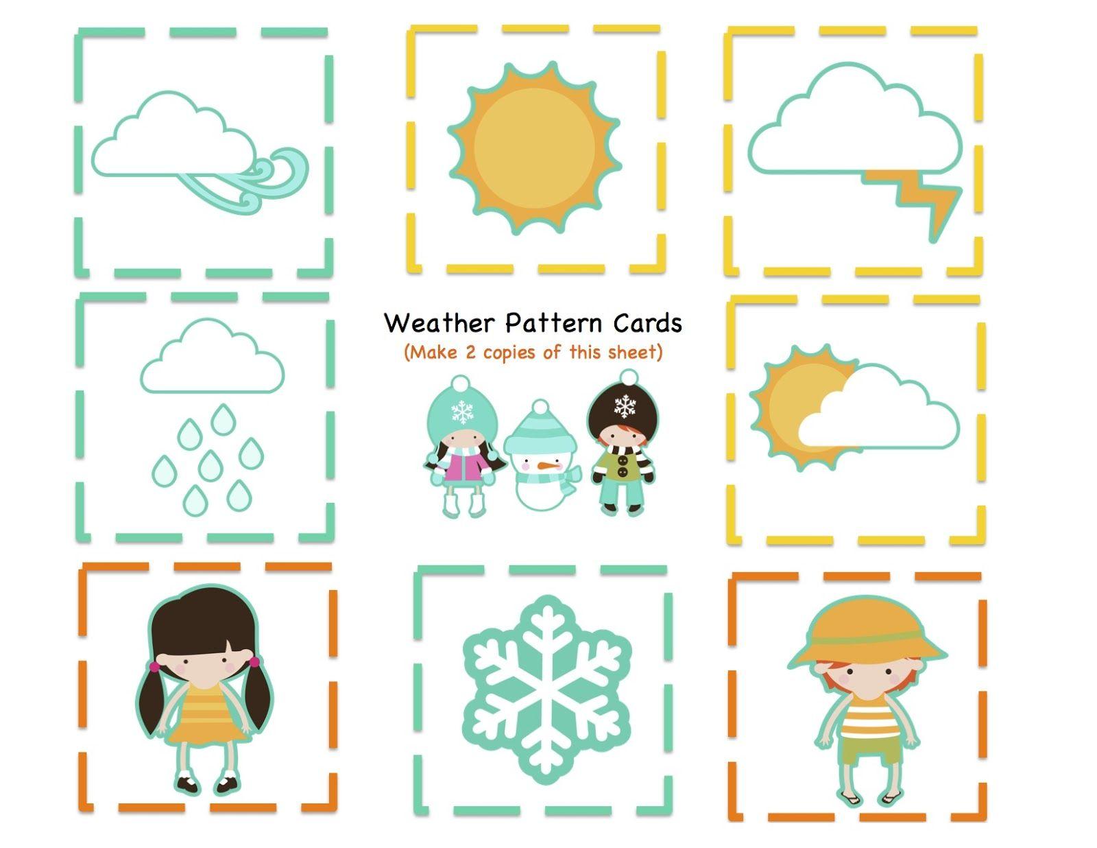 Preschool Printables Weather Kids Number Amp Pattern Cards