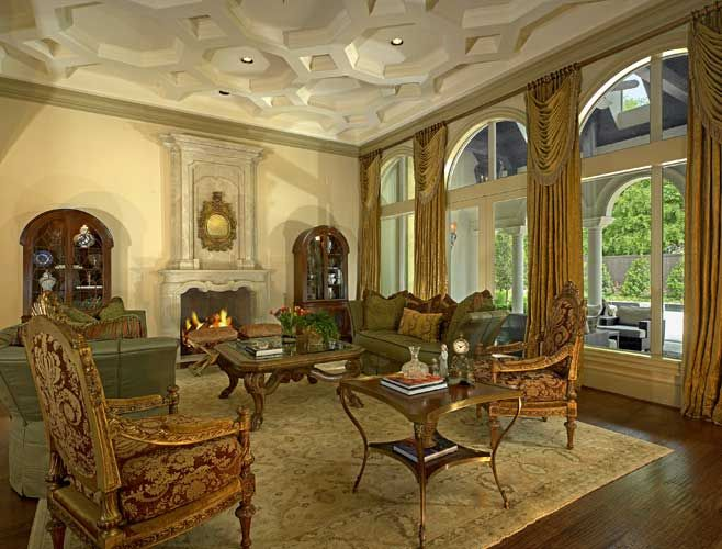 Italian Renaissance Living Room With Coffered Ceiling