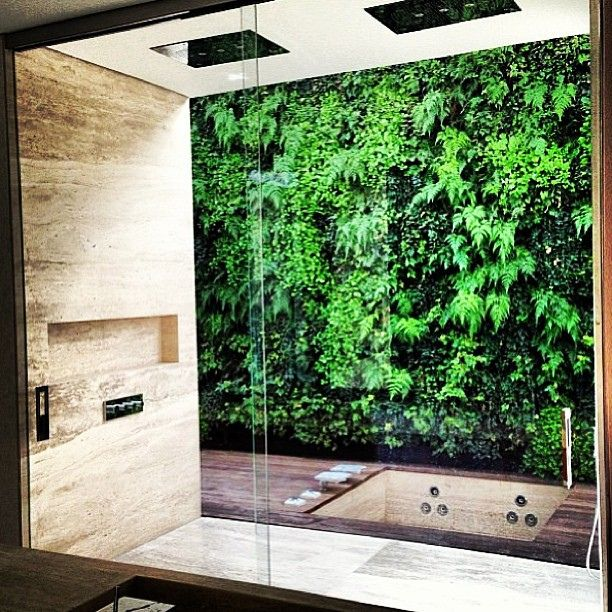 Private Indoor Shower With Vertical Garden View Bathrooms