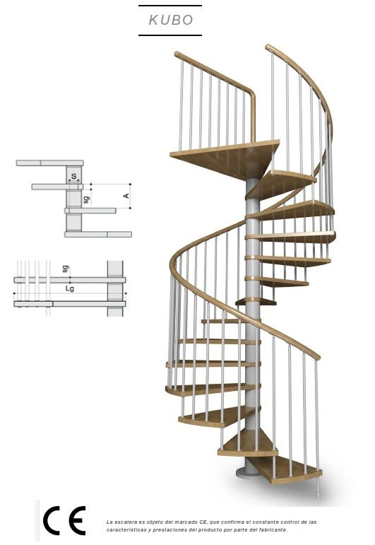 Escalera de caracol con peldaos de madera modelo de