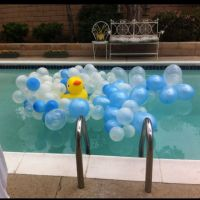 Rubber ducky Baby shower idea for the pool! Tie balloons