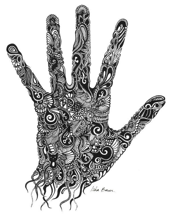 Handprint Drawing With Fine Liner Isha Brown Art