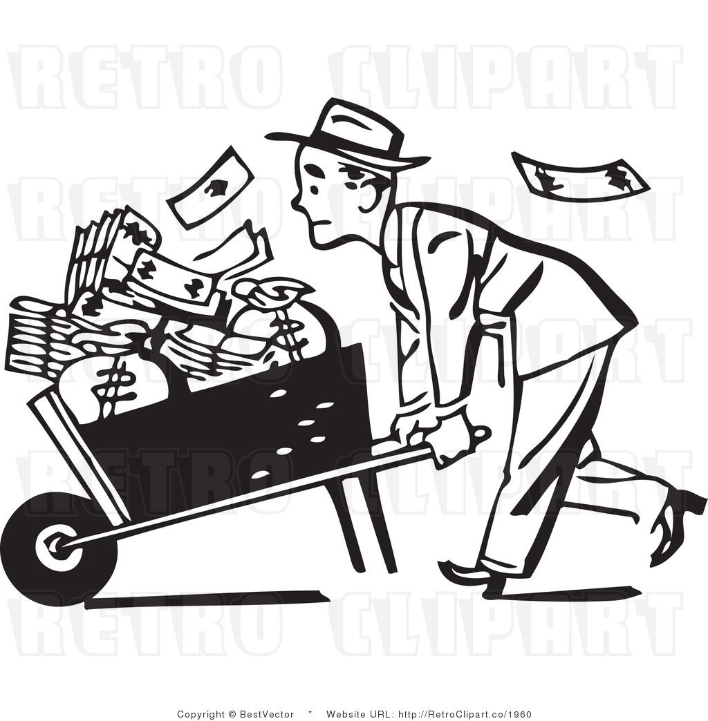 Struggling Retro Man Pushing Wheelbarrow Full Of Money