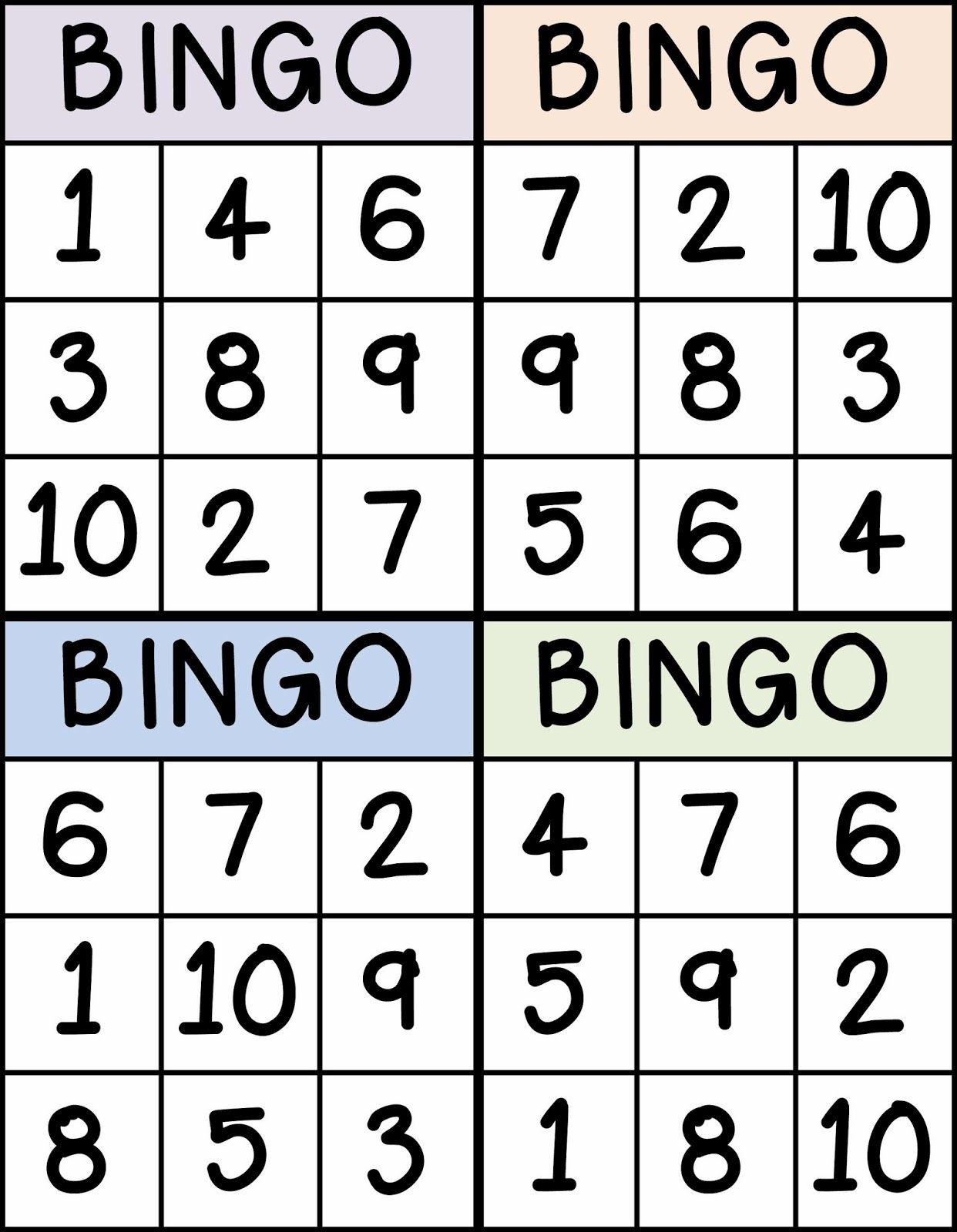 Bingo For Numbers 1 10 Great For Preschool Number Identification