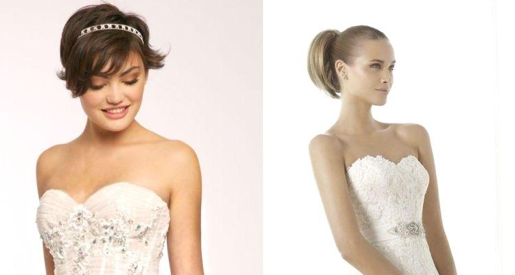 Frisur Für Trägerloses Kleid Hochzeit Diadem Pferdeschwanz
