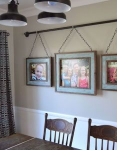 Iron pipe family photo display dining room ideas home decor repurposing upcycling also rh pinterest