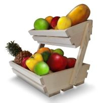 Fruit Basket Stand, Premium 2 Tier Wooden Display Rack For ...