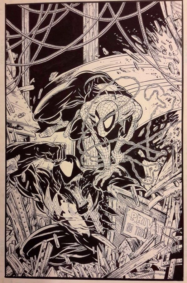 Todd Mcfarlane - Spider Man . Venom Original Comic Art