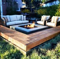 Fire pit with built in retainer wall come bench seat ...