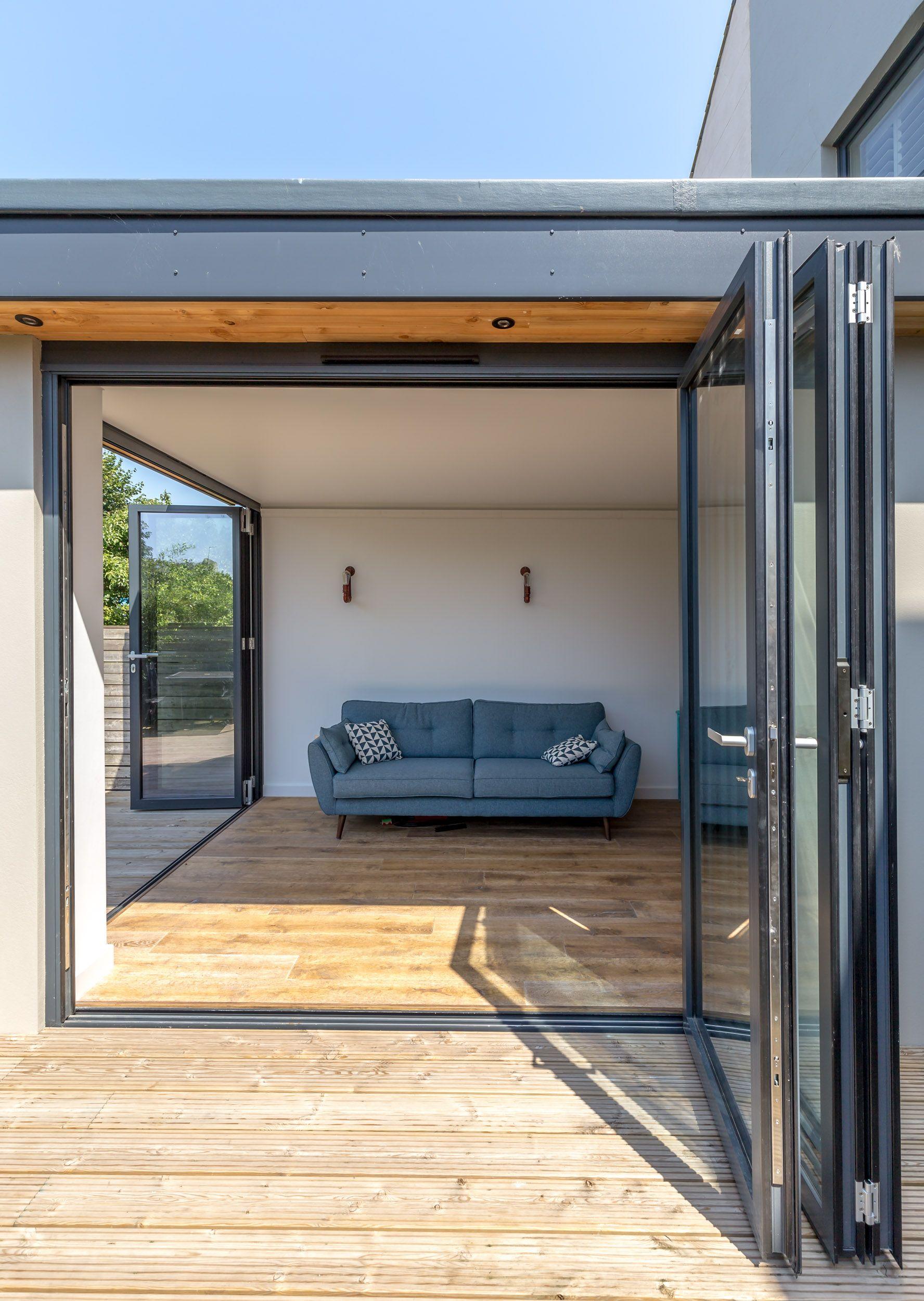 Modern bifold doors  grey aluminium profile  level