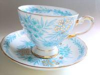 Tuscan Tea Cup and Saucer, Antique Tea Cups, Tea Set, Aqua ...