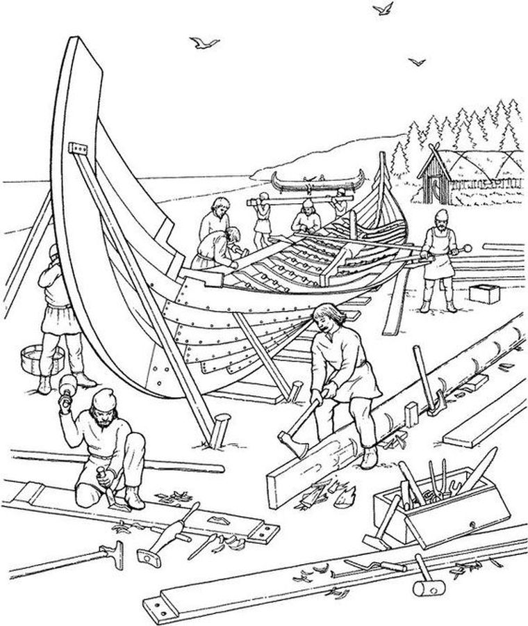 realistic traditional viking shipyard hard coloring pages