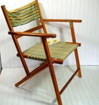 Vintage Wood and Canvas Folding Beach Chair - Retro ...