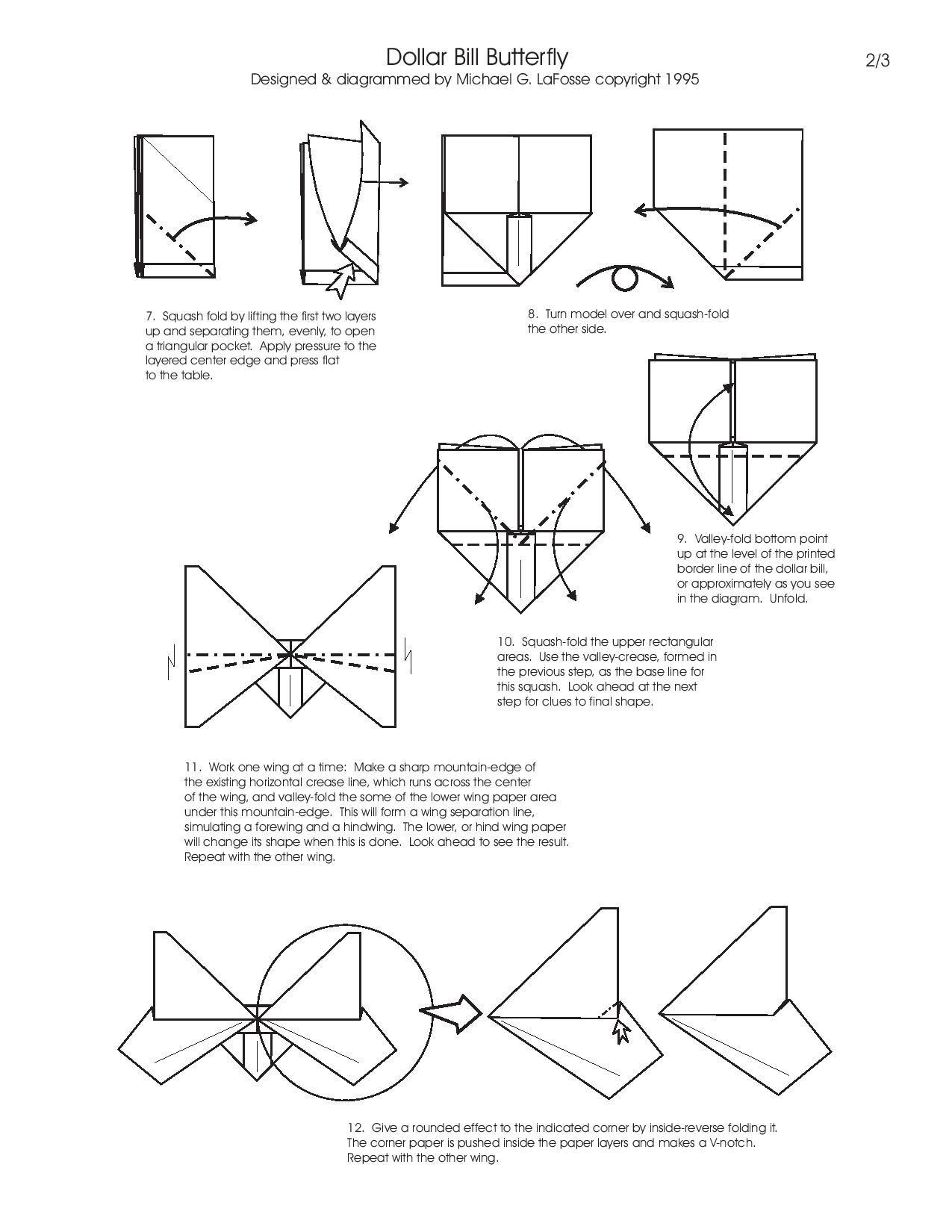 money origami diagram 1990 ford alternator wiring butterfly insect animal dollar bill cash