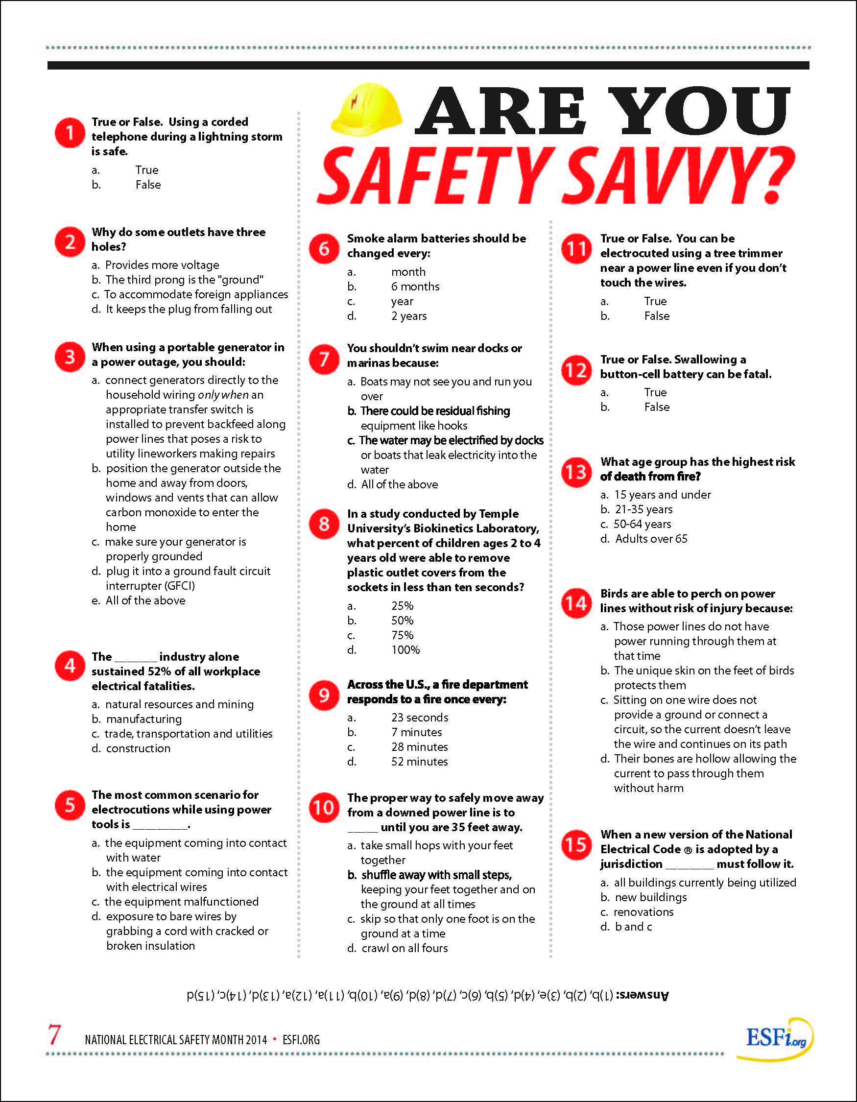 Are You Safety Savvy Nesm Quiz