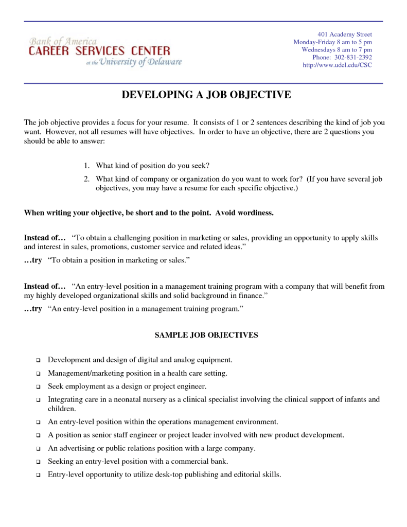 Marketing Objectives Examples Resume Examples Of Resumes