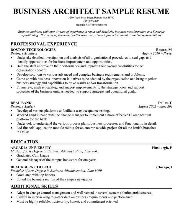 business architect resume example free resume resumecompanion project architect sample resume - Project Architect Resume