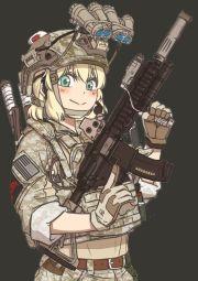 1girl > assault rifle belt blonde hair
