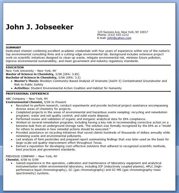 Chemist Resume Examples Creative Resume Design Templates Word