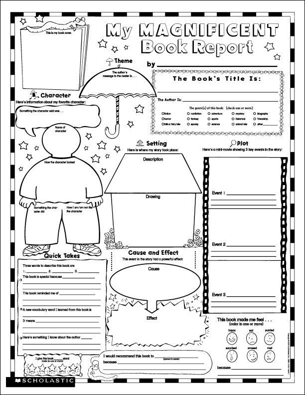 For 4th Grade 7 best images of free printable book report