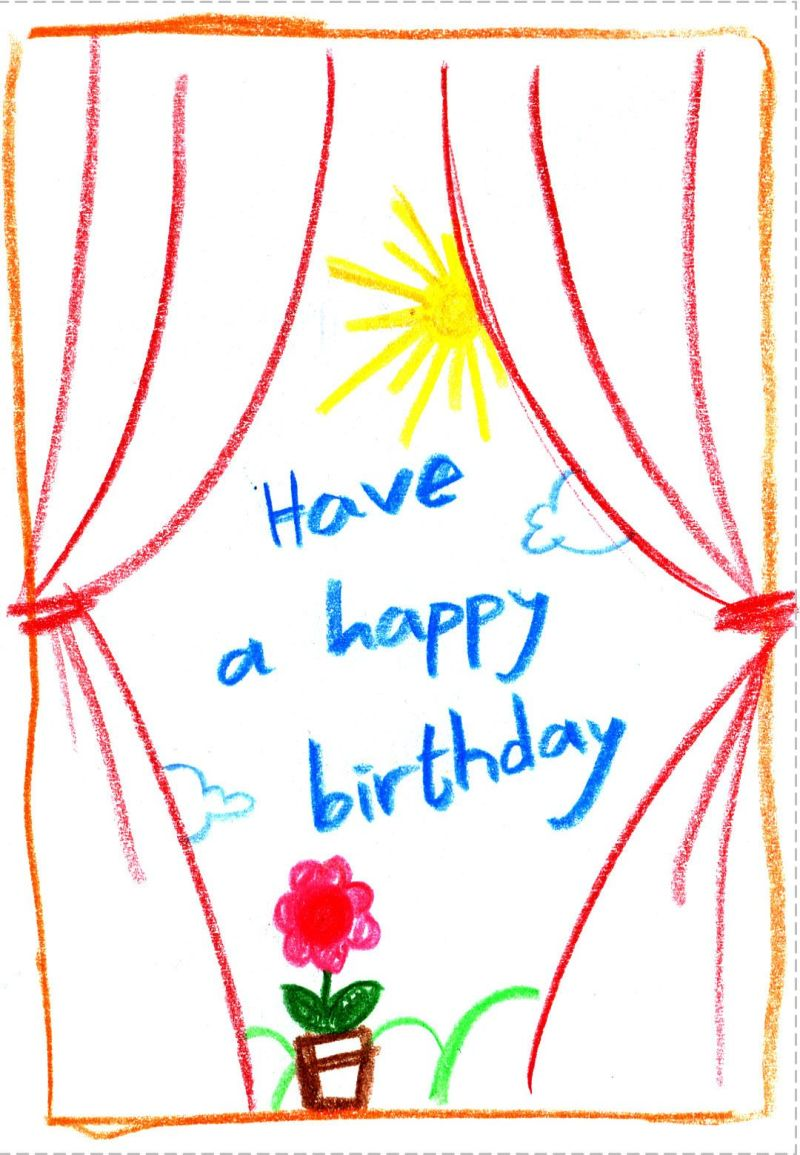 Birthday card free printable child drawing greeting