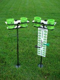 Backyard game scoreboard and drink holders