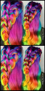 pink braided rainbow dyed hair