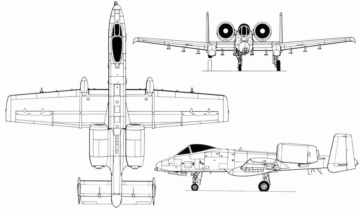 Fairchild Republic A-10 Thunderbolt II Blueprint