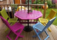 Bright painted garden furniture, adds a bit of colour to ...