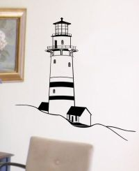 Old Beach Lighthouse Vinyl Wall Graphics Art Decal LARGE ...