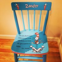 Dr Seuss custom painted boys chair. Painted for a little