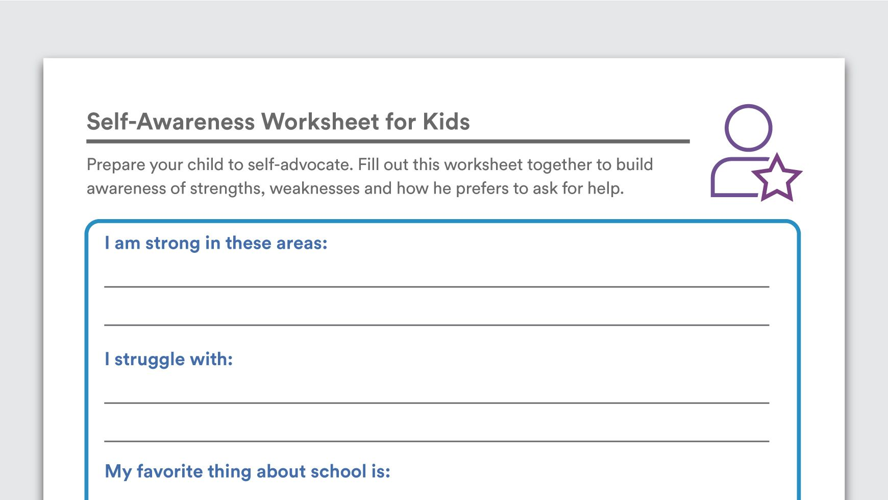 Download Self Awareness Worksheet For Kids