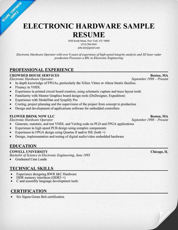 Electronic Hardware Resume Sample Resumecompanion Com Carol