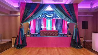chair cover rentals in philadelphia pa 2 seat garden table and chairs teal, royal blue, aqua hint of hot pink backdrop, maharani sangeet jago mehndi decor gold ...