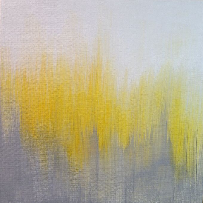 Yellow and Gray Ikat Abstract Painting by Kirsten Gilmore