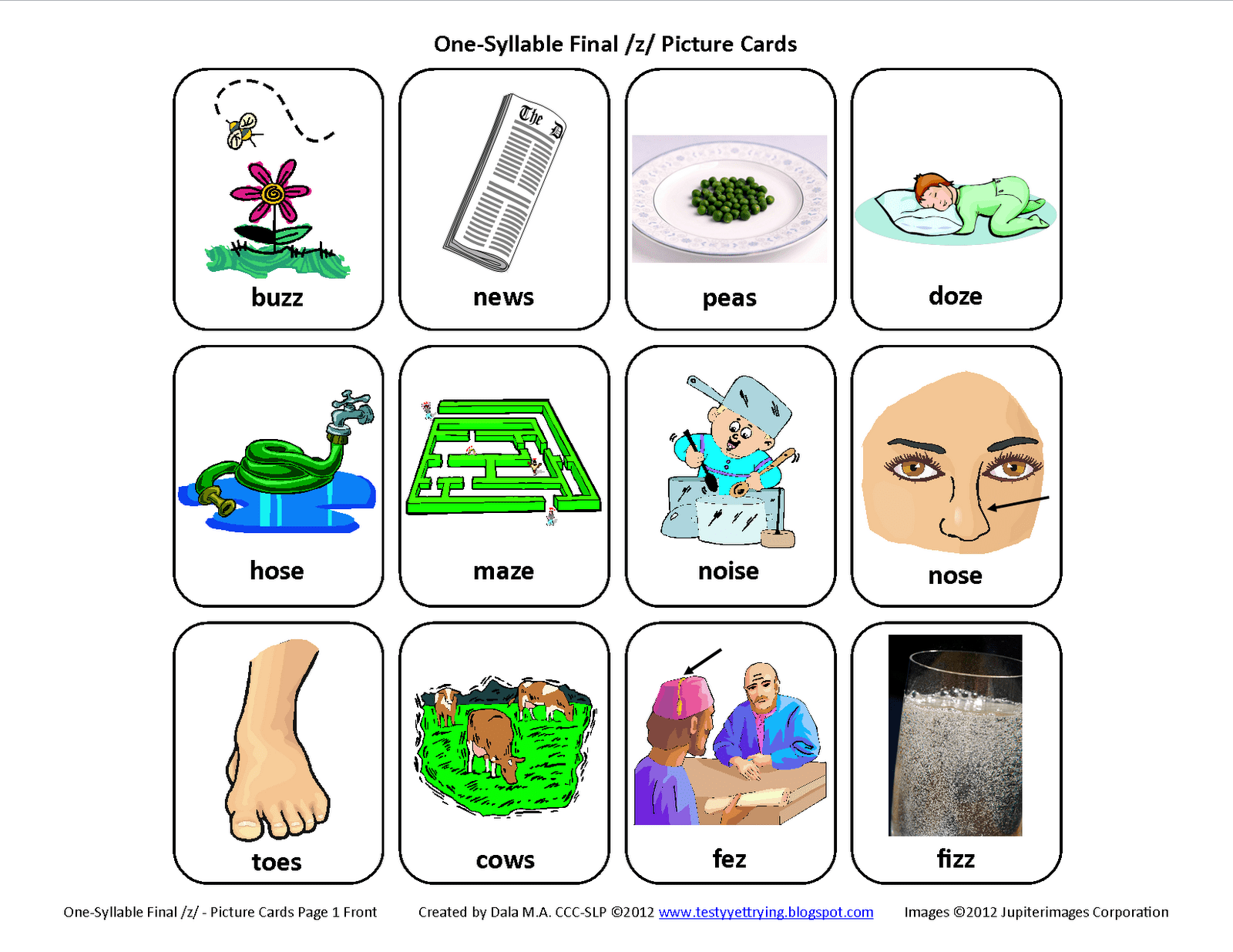 Final Z Free Speech Therapy Articulation Picture Cards