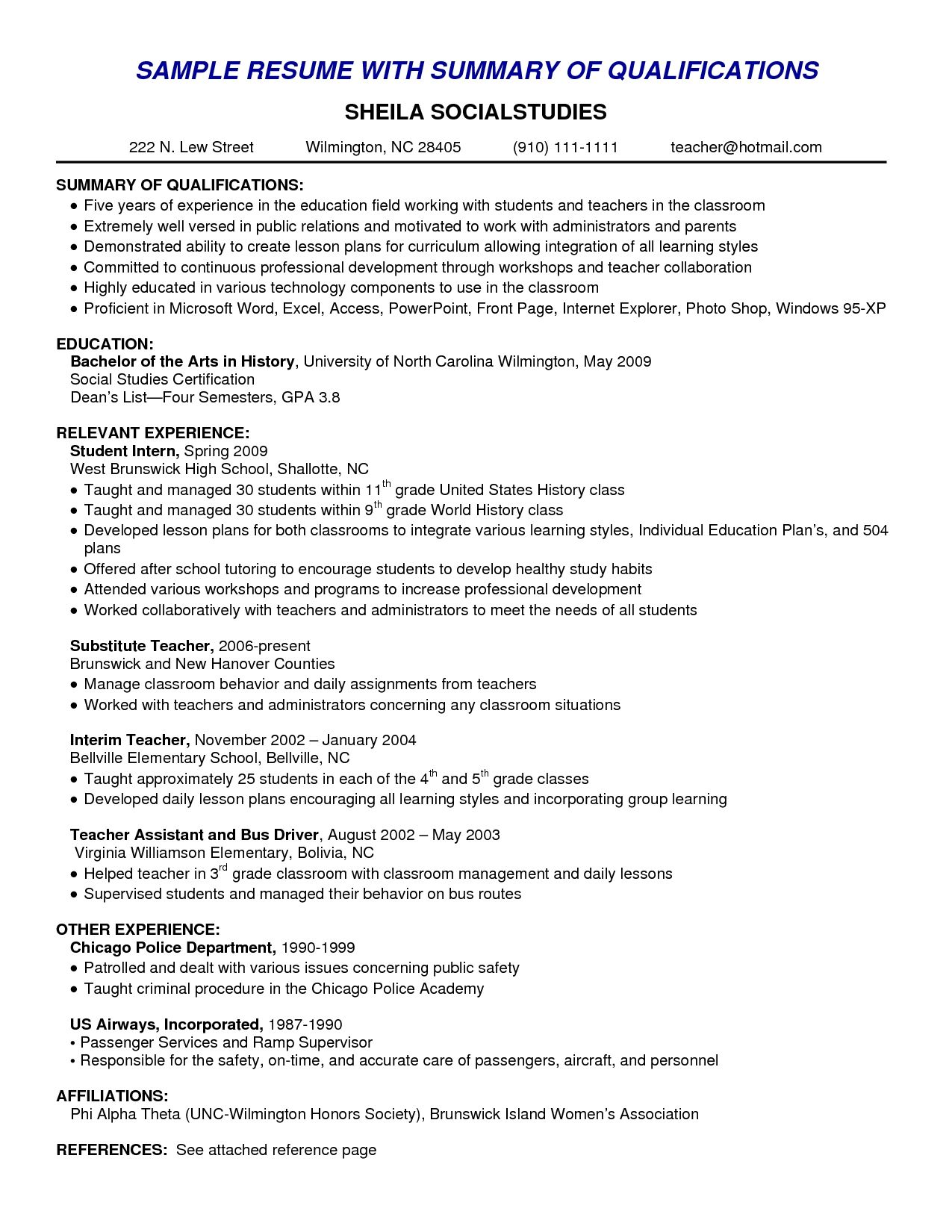 Resume Skills Summary Examples Example Of Skills Summary For