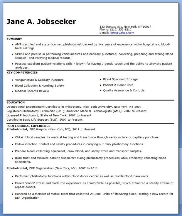 Phlebotomist Resume Sample Free Creative Resume Design Templates