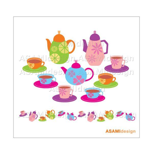 Teacups Teapots Clipart Set Clip Art Tea Party Cup