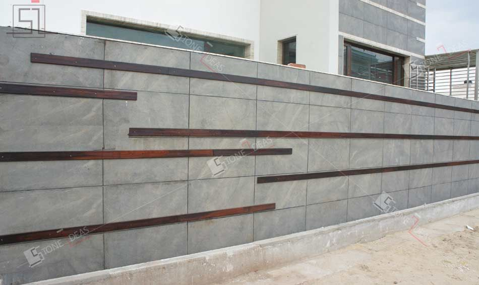 natural stone tiles application as wall cladding on