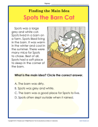 1st or 2nd Grade Main Idea Worksheet About Spots The Barn ...