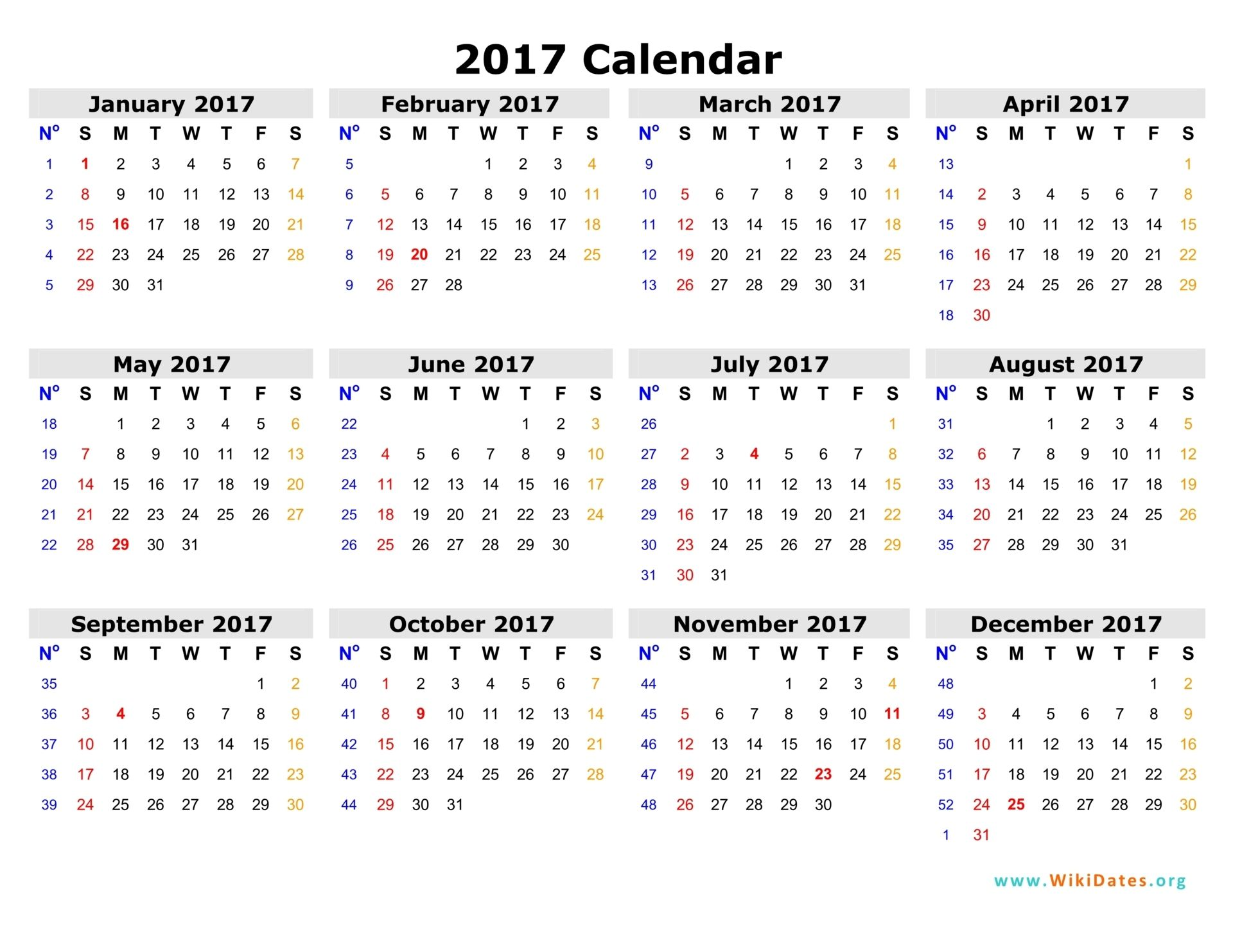 Calendar Printable Template