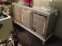 Powell Console Cabinet With Mirrored Glass Doors In Black ...