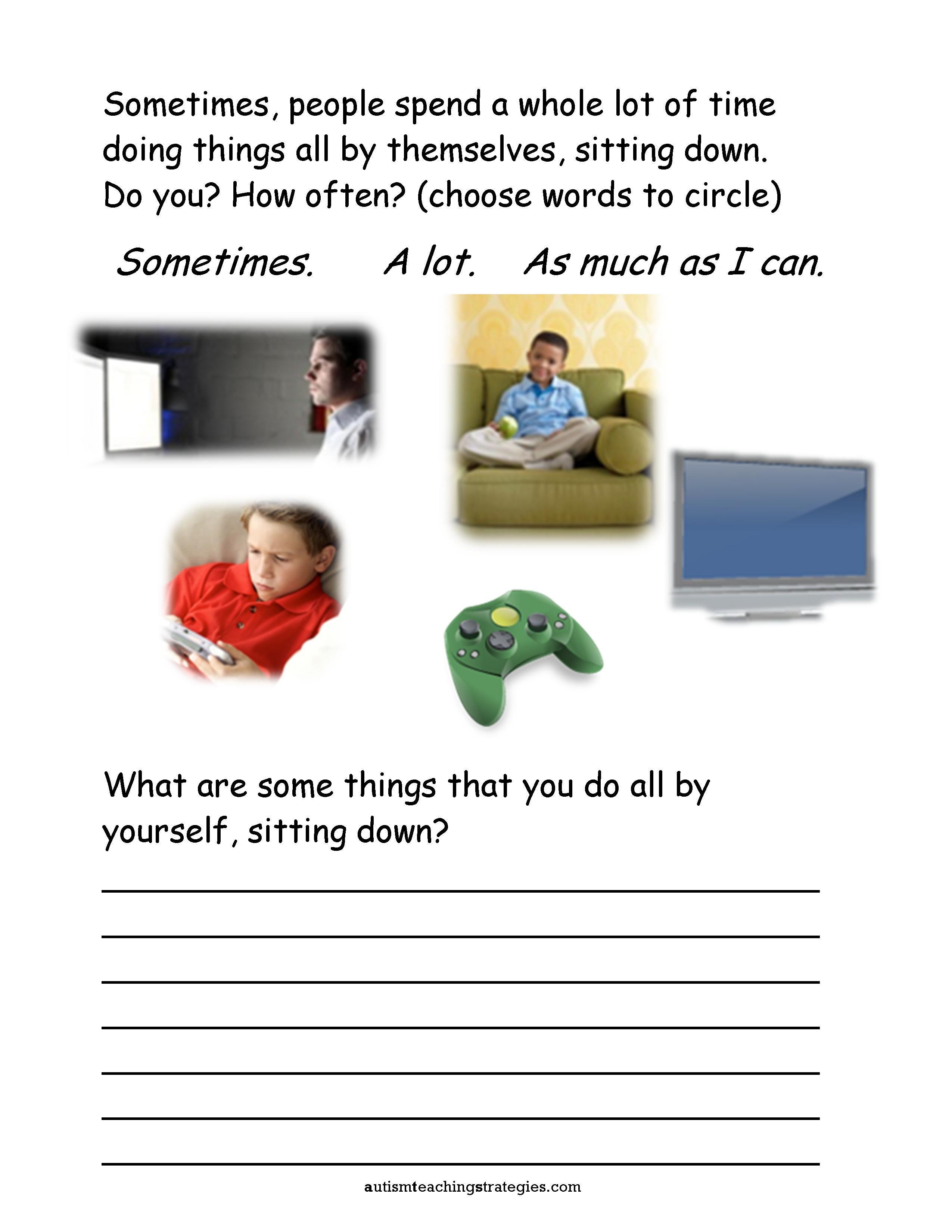 Isolation Worksheets