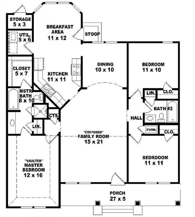 654069 One Story 3 Bedroom 2 Bath Ranch Style House Plan